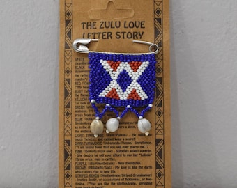 African Zulu Love Letter Beaded Pin 55mm