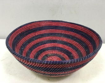 Basket African Lesotho Red Purple Woven South Africa Handmade Hand Woven Coiled Woman Unique SM13
