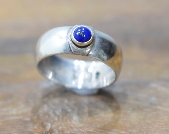 Ring Sterling Silver Blue Lapis Band Ring