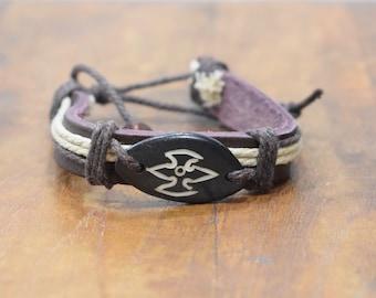 Bracelet Brown Leather Beige Hemp Brown Etched Bone Tie Bracelet