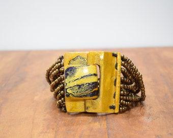 Bracelet Beaded Bronze Hand Painted Buckle Clasp Bracelet