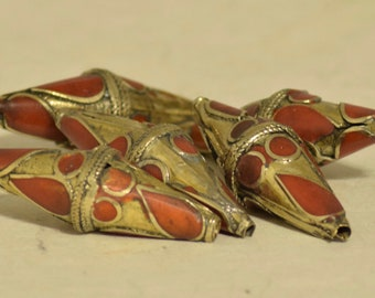 Beads Afghanistan Coral Brass Bicone Beads 28mm