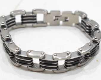 Bracelets Stainless Steel Black Rubber Clasp Linked Bracelets