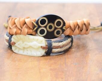 Bracelet 2 Assorted Wood Bone Tie Bracelets