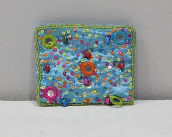 Coin Purse Beaded Turquoise Satin Sequined Flower Purse