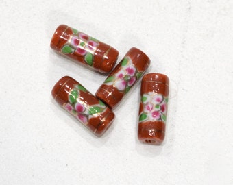 Beads Chinese Brown Flower Porcelain Tube 17-18mm
