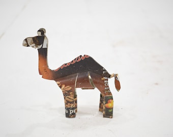 African Folk Art Toy Camel Recycled Tin Can Camel Tanzania Vintage Toy Camel