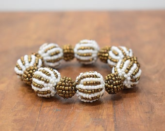Bracelet Beaded Bronze White Stripped  Bead Elastic Bracelet