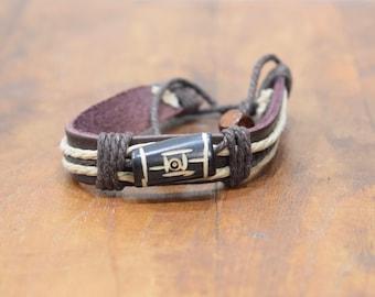 Bracelet Brown Leather Beige Hemp Batik Bone Tie Bracelet