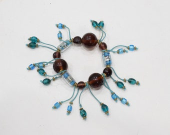 Bracelets Beaded Stretch Turquoise Amber Glass