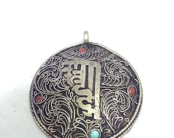 Pendant Tibetan Silver Om Mandala Pendant
