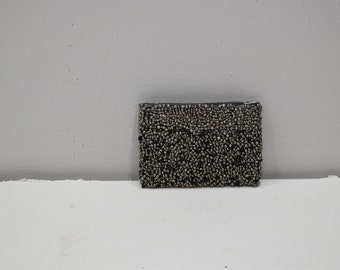 Purse Beaded Steel Gray Black Small Clutch Purse