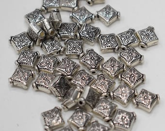 Beads Silver Plated Etched Triangle Beads 10mm