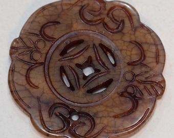 Beads Chinese Serpentine Medallion Pendant 48mm