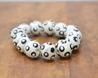 Bracelet Beaded Black White Wood Bead Elastic Bracelet