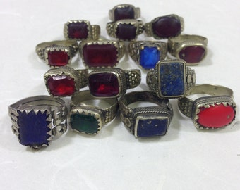 Ring Middle Eastern Silver Blue and Red Glass Rectangle Handmade Handcrafted Red Blue Green Silver Statement Fun Unique Tribal Rings Tribal