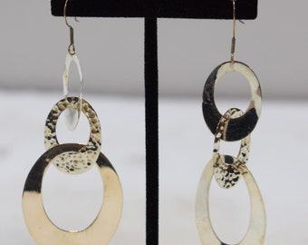 Earrings Sterling Silver Triple Oval Circle Earrings 80mm