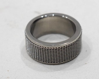 Ring Stainless Steel Silver Mesh Band Ring