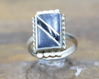 Ring Sterling Silver Square Lapis Onyx Stone Ring