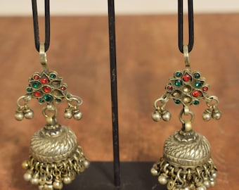 Earrings Silver Kuchi Glass Jewelry Belly Dancing Middle Eastern Kuchi Earrings