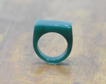 Ring Green Aventurine Rectangular Ring