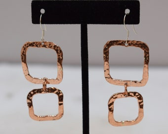 Earrings Plated Copper Hammered Square Dangle Earrings 60mm
