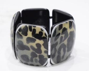 Bracelets Animal Print Sectional Stretch Lucite Bracelet