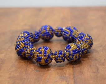Bracelet Beaded Blue Gold Bead Elastic Bracelet