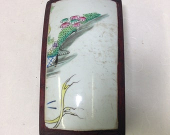 Chinese Porcelain Shard Wood Box Handmade Chinese Porcelain Unique Cultural Historical Statement