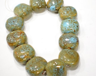 Beads Porcelain Turquoise Square Beads 26mm