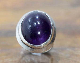 Ring Sterling Silver Purple Amethyst Oval Stone Ring