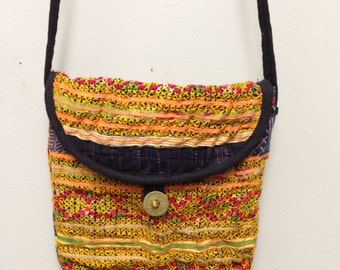 Chinese Purse Hmong Embroidered Purse Hill Tribe Handmade Colorful Shoulder Bag Purse Hand Woven Gift for Her One of Kind Tribal