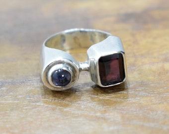 Ring Sterling Silver Garnet Amethyst Ring