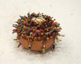 African Togo Fetish Beaded Gourd Box