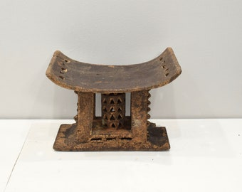 African Ashanti Stool Ghana Ceremonial Old Hand Carved Ashanti Stool