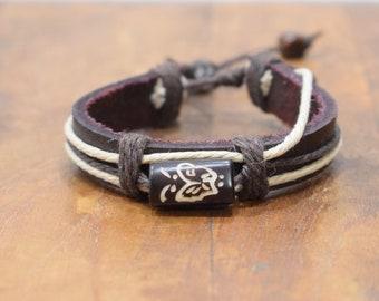 Bracelet Brown Leather Beige Hemp Batik Bone Butterfly Tie Bracelet