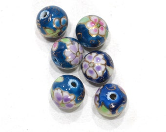Beads Chinese Blue Flower Porcelain 12mm