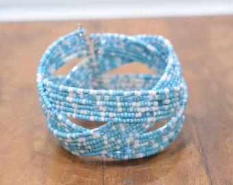 Bracelet Beaded Turquoise White Wire Cuff Bracelet