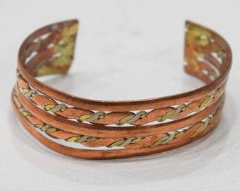 Bracelet Copper Brass Woven Wide Cuff Healing Bracelet