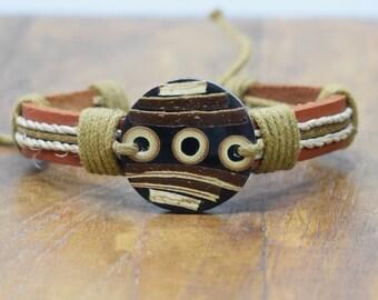Bracelet Brown Leather Hemp Inlaid Horn Wood Tie Bracelet