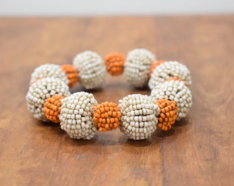 Bracelet Beaded Orange and Cream Bead Elastic Bracelet