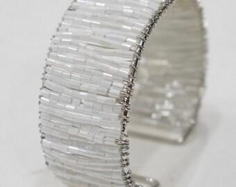 Bracelet Beaded White Glass Cuff Adjustable Bracelet