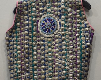 Vest Wedding Middle Eastern Green/Pink Beaded  Coin Vest