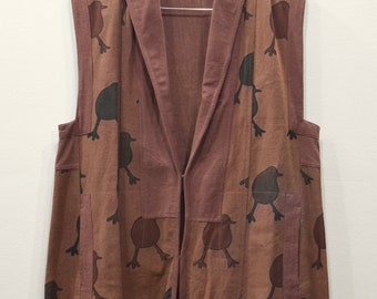 Sleeveless Duster African Brown Black Cotton