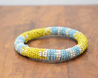 Bracelet Beaded Blue Yellow Bead Bangle Bracelet