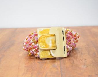 Bracelet Beaded Pink White Hand Painted Buckle Clasp Bracelet
