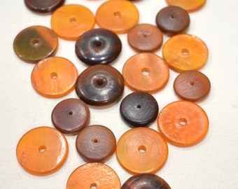 Beads Philippine Assorted  Brown Flat Beads 19-23mm