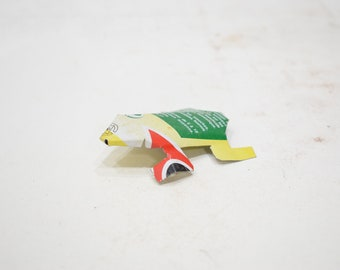 African Folk Art Toy Frog Recycled Tin Can Frog Tanzania Toy Frog
