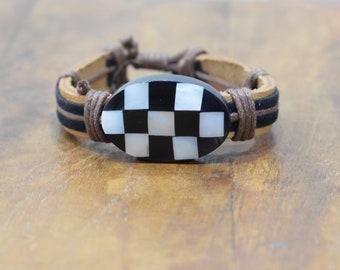 Bracelet Brown Leather Black White Shell Tie Bracelet