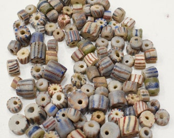 Beads African Sandcast Glass Assorted Beads 10-14mm